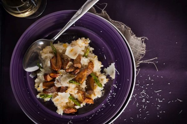 Risotto aux champignons homard et asperges